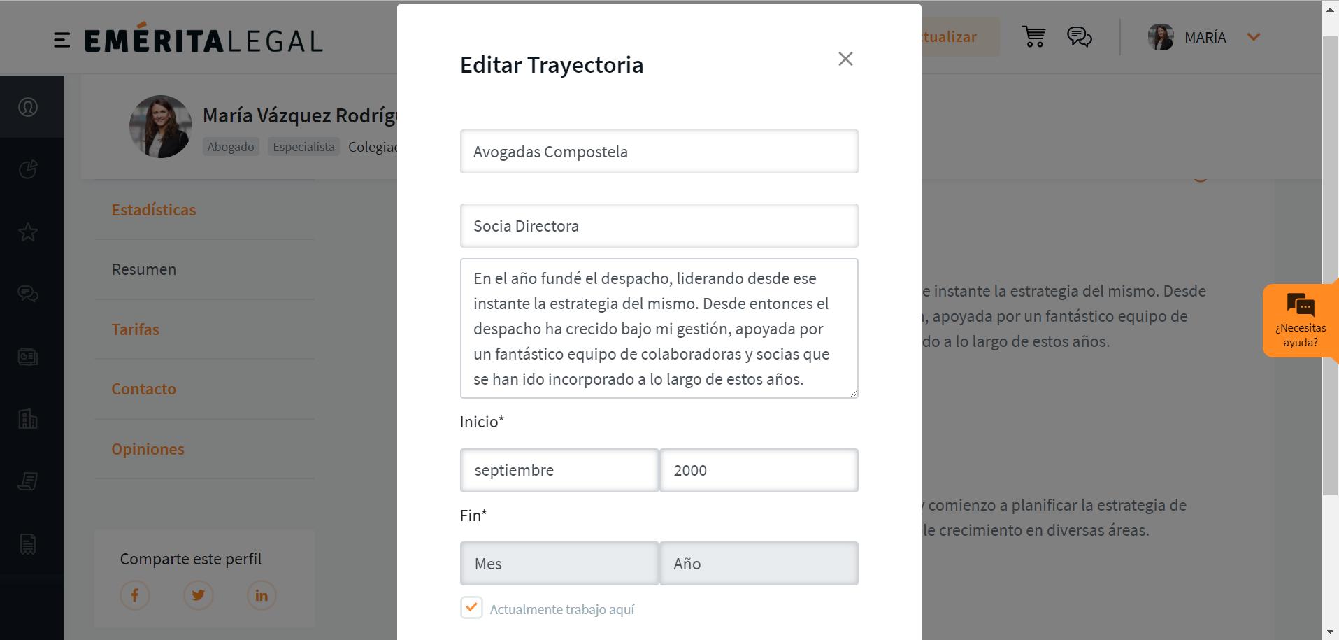 Editar trayectoria del perfil de Emérita Legal